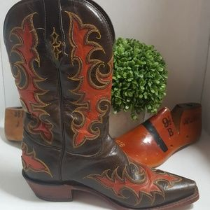 Tony Lama Nicotine Goat boot burnt orange inlays